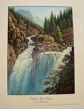 Wasserfall Aar Handeck Handegg Handeck Bern Schweiz altkolorierte Aquatinta 1840
