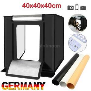 Fotostudio Fotobox Set 40x40cm LED Lichtwürfel Lichtzelt für Pro Fotografie DHL