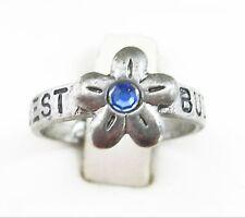 BEST BUDS Flower RING Blue Rhinestone Friends Silvertone Signed Rainbow Size 6.5