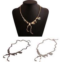 Trendy Goth Owl Alloy Walking Dinosaur Skeleton Dead T-Rex Pendant Necklace Gift