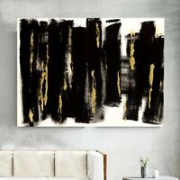 Abstrakte Malerei Moderne Kunst Schwarz Gold Unikat Original Gemälde Leinwand