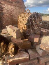 Vintage Wood Wicker Cat dog  Pet Basket Carrier