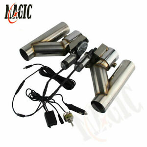 "2"" Dual Electric Exhaust Cutout Downpipe Dump Bypass Valve w/ Switch Control Kit"