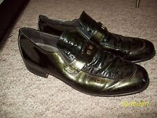 Vintage 1960's Dark Green Patent Leather Mod Shoes by Whippet Wright Size 10.5 A