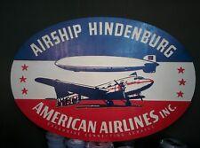 Cartel Airship Hindenburg American Airlines Zeppelin relieve fabricado en madera