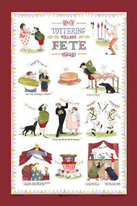 Tottering Village Fete tea towel novelty cotton Tea Towels country life funny