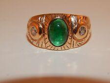 Art Deco 14k YG  Cabochon Cut Emerald European Cut Diamonds 2.20 tcw Wide Ring