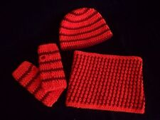 myboshi Set: Mütze, Schal und fingerlose Handschuhe in neonorange mit rot Neu!