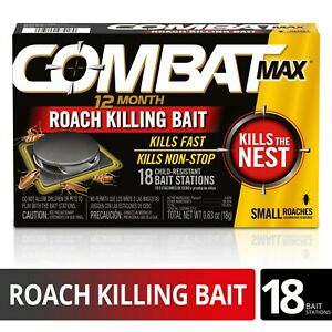 COMBAT MAX 12 Month Roach Killing Bait, Small Roach, Child-Resistant, 18 Count