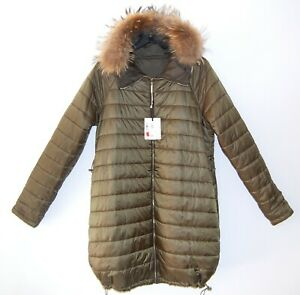 WOMENS QUILTED LIGHT REVERSIBLE PUFFER COAT WITH DETACHABLE FOX TRIM