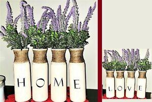 4 Piece Vase Home/Love with Lavender Florals Home Decor Vase Set Farmhouse