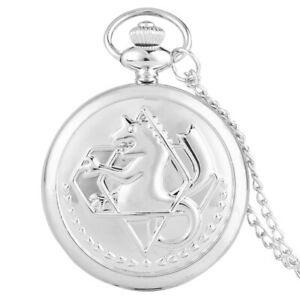 Silver Fullmetal Alchemist Retro Quartz Pocket Watch Necklace Chain Women Men