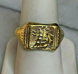 22K YELLOW GOLD MASTED SAILING SHIP SIGNET RING SIZE 9-11 , ADJUSTABLE
