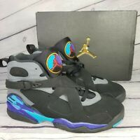 "NIKE AIR JORDAN 8 Retro BG ""Aqua"" High Top Shoes Sneakers Youth Size 6.5"