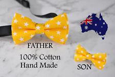 Father Son Match 100% Cotton Handmade Yellow White Stars Bow Tie Bowtie Wedding