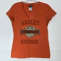 Harley Davidson Top Small Women's Tee Short Sleeve Top V Neck T Shirt Orange