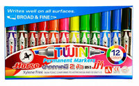 Horse Brand Permanent Markers Ultra-Fine Point Assorted Colors -12 Pieces/Color