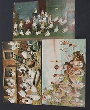 Vintage Lot of 3 Postkarte Postcards Mitteilung Babies Kids