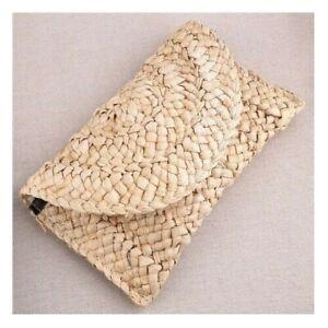Handmade Rattan Wallet Money Handbag Woven Natural Lovely Retro Straw Knitted