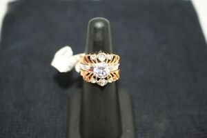 Gold Tone Stainless Steel Round CZ Women's Wedding Engagement Ring Set Sz 9 R002
