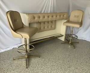 Vintage Daystrom Mid Century Modern Tufted Brass Chrome Dry Bar and Stool Set
