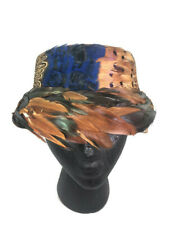 Women's Vintage Multicolor Feather Brown Velour Felt Cloche Hat