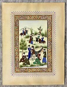Vintage Indian Miniature Painting Hand Painted Mogul Scene Hand Painted Mount