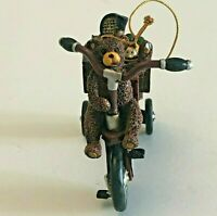 Folk Art Christmas Ornament Teddy Bear On Tricycle With Gifts Vintage