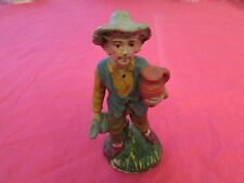 "4.75"" VINTAGE FIGURINE-MAN IN YELLOW SHIRT & BLUE VEST CARRYING WATER PITCHERS"