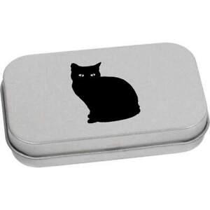 'Sitting Cat' Metal Hinged Tin / Storage Box (TT013568)