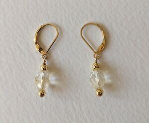 Citrine crystal Earrings, 14 K Gold filled