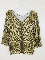 CHICOS Top Womens Size 1 (Small/Medium) 3/4 Sleeve Brown Gold Casual Blouse