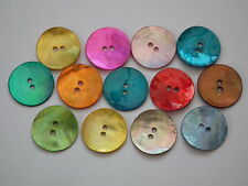 50 15mm Round Mother of Pearl Shell Buttons in Assorted Colours (B10)