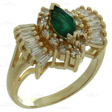 Vintage Diamond Marquise Chatham Emerald 14k Yellow Gold Ring