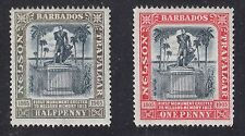 BARBADOS #103 and #104 Mint Hinged 1906 LORD NELSON MONUMENT SCV $27.00