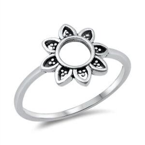 Bali Style Oxidised 925 Sterling Silver Mandala Flower Ring J L N P R T