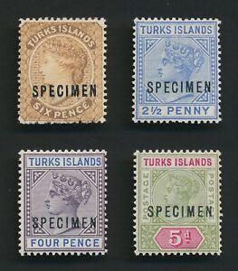 TURKS ISLANDS STAMPS 1887-1894 QV SPECIMENS MOG SG#59s MH, #65s MLH OG #71/2 MLH