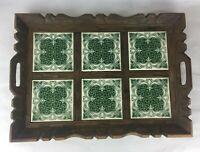 """Antique Tile Serving Tray Carved Brown Wood 6 Ceramic 12"""" x 18"""" Green Vintage"""