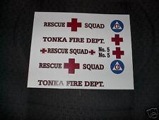TONKA  FIRE DEPT.RESCUE SQUAD METRO VAN  DECAL SET
