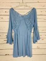 Umgee USA Boutique Women's Size L Large Blue Lace Cute Summer Tunic Top Blouse