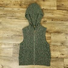Anthropologie One Girl Who Womens Medium M Knit Hooded Sweater Vest Green