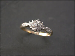 Diamond Cluster Ring size N 9ct Gold real diamonds Beautiful London Quality.