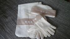 Mütze-Schal-Handschuhe-Set ,Mädchen,weiß-beige.