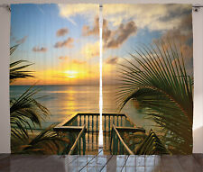 Tropical Curtains Palms Sunset Scenery Window Drapes 2 Panel Set 108x84 Inches