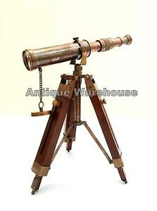Nautical Scope Pirate Spyglass Vintage Brass Telescope With Wooden Tripod Decor