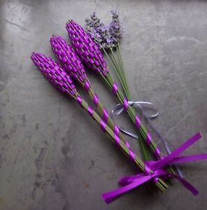 Lavender Filled Handwoven Wands 3 Medium Purple Double Sided Satin Ribbon