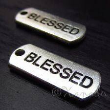 10PCs Blessed Wholesale Silver Plated Rectangle Charm Pendants - C3153