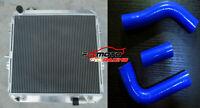 Aluminum Radiator+Blue Hose For Toyota Hilux LN106 / LN111 2.8L Diesel 1988-1997