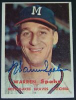 UNBELIEVABLE 1957 Topps Warren Spahn Signed Autographed Baseball Card JSA AH LOA