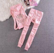 Juicy Couture Velour Tracksuit Set Hoodie & Jogger Pants Pink M